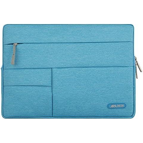 MOSISO manicotto del computer portatile, copertura del sacchetto di caso multifunzionale del tessuto della tela di canapa per 12,9 iPad Pro / 13-13,3 pollici MacBook Air / MacBook Pro / Laptop,Cielo blu