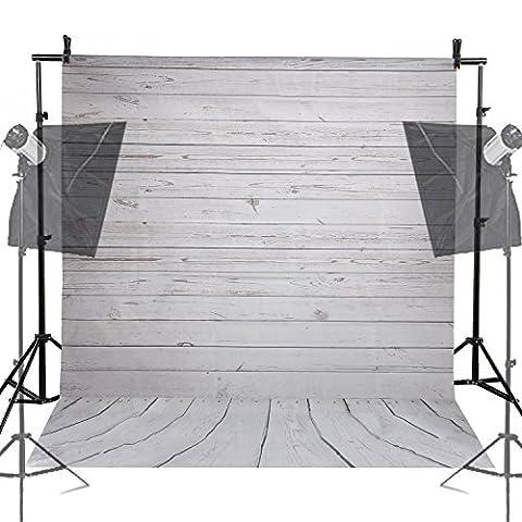 BPS 5x7ft (1.5m x 2.1m) Photography Portrait Cloth Vinyl Backdrop Quiet Grey Wood Floor Background for Portrait or Video Photography