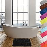 MSV Badteppich Badvorleger Duschvorleger Kieselstein Badematte Waschbar, Schnelltrocknend, Rutschfest 40x60 cm – Schwarz