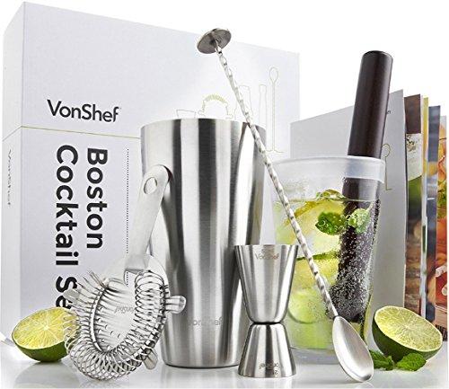 VonShef Premium Boston Cocktail Set mit Rezeptbuch, Edelstahl 550ml Shaker & Glas, gedrehter Barlöffel, Hawthorne-Sieb, 25ml/ 50ml Messbecher & Holz-Stößel - Zwei Jahre KOSTENLOSE Gewährleistung