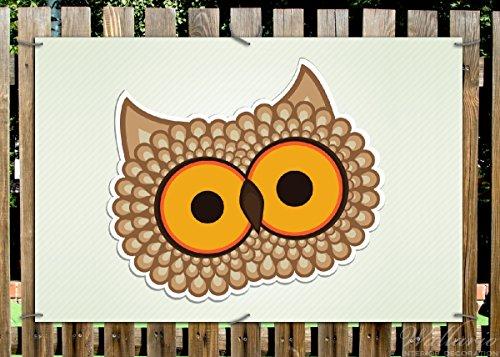 Wallario Garten-Poster Outdoor-Poster - Lustige Comic Eule mit großen Augen in Premiumqualität, Größe: 61 x 91,5 cm, für den Außeneinsatz geeignet
