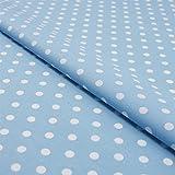 Hans-Textil-Shop Stoff Meterware Punkte 7 mm Weiß auf Hellblau