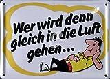 HB Männchen Zigaretten - Wer wird denn gleich in die Luft gehen - Nostalgie Werbung Blechschild 11x8 cm