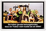 Blechschild Sexy PinUp Girls mit Traktor 20 x 30cm Reklame Retro Blech 1257