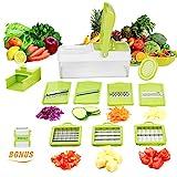10 in 1 Verstellbarer Mandoline Gemüseschneider Kartoffelschneider, Zerteilen Gemüse Obst Schnell und gleichmäßig, Multischneider, Gemüsehobel, Gemüseschäler, Gemüsereibe und Julienneschneider in 1 von WEINAS (Mandoline Gemüseschneider) (Mandoline)