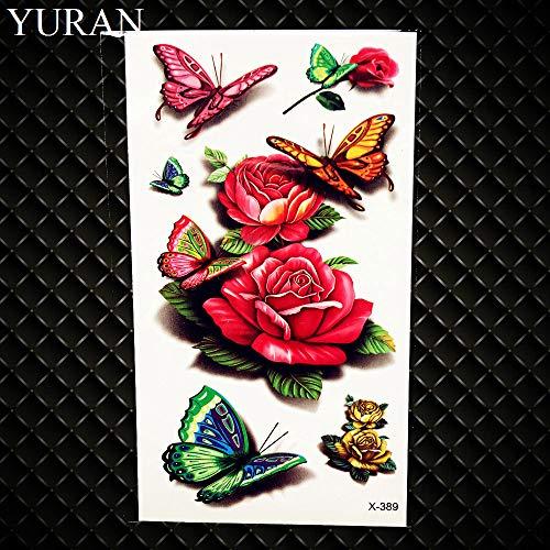 Gvdtykjf adesivo tatuaggio carpa design flash tatuaggi impermeabili tatuaggi finti cranio pesce modello di fiore 21x15 cm grande body art tatuaggi braccio ghb067