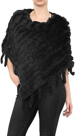 Miss Rouge Mantello in pelliccia coniglio, pompon, colore: Nero