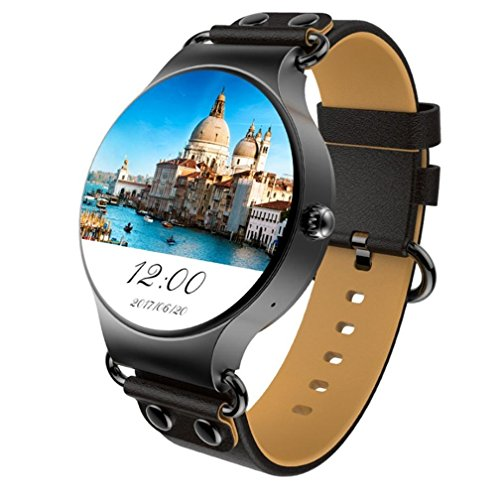 KYDJ Neue Smart KW 98 Runden Bildschirm WLAN GPS Android 5.1 3G MTK 6580 Quad-Core Phone Watch Nano-SIM-Karte Smart Watch kompatibel Android4.4 und Ios 8.0, schwarz (Klicken Sie Auf Und Spielen Tablet)