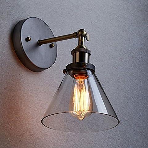 Hahaemall Vintage Edison industriale in acciaio inox con paralume in vetro per lampada da parete, Loft Bar