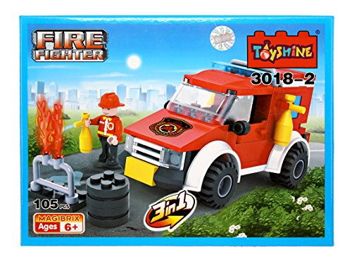 Toyshine Firefighter and Rescue Blocks Set, ABS Plastic Construction Toy, Starter Kit - (3018-2)