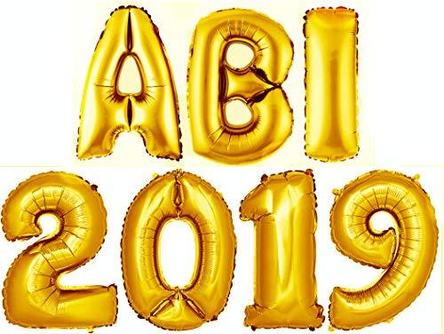 stabenballon Abitur 2019 Folienballon Zahlenballon Luftballon Deko Gold 100cm ()