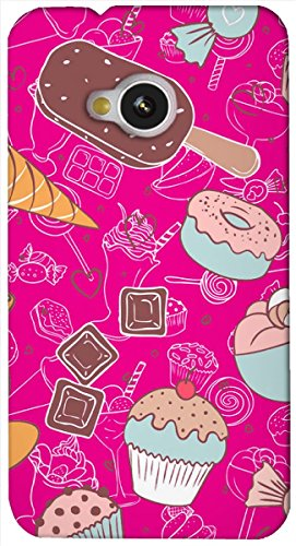 Rebel Multicolor ice cream pattern / illustrator printed protective back cover for HTC One M7  available at amazon for Rs.199