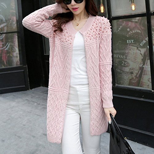 YOUJIA Femmes Gilet Long Chunky Tricot à câble Col rond Cardigan Perlé Chandail Sweater Jumper pink