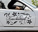 Autoaufkleber Kuschelnest Blume Blumenranke Aufkleber Sticker Heck Spruch 1D159, Farbe:Dunkelgrau glanz;Breite vom Motiv:55cm