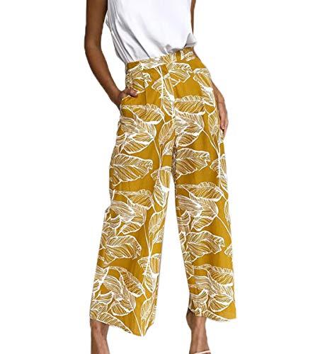 Ajpguot Lungo Pantaloni da Donna Moda Stampa Fiore Pantalone Larghi