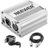 Neewer 1-Canal Phantom 48V Alimentación Suplimiento Negro con Adaptador y Cable de Audio XLR para Caulquier Micrófono Condensador Músico Equipo de Grabación (De plata)