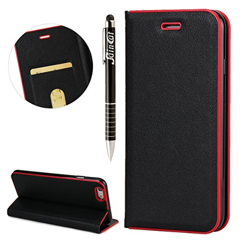 Custodia iPhone 6 Plus, iPhone 6S Plus Flip Case Leather, SainCat Custodia in Pelle Cover per iPhone 6/6S Plus, Anti-Scratch Book Style Protettiva Caso PU Leather Flip Portafoglio Custodia Libro Prote Nero