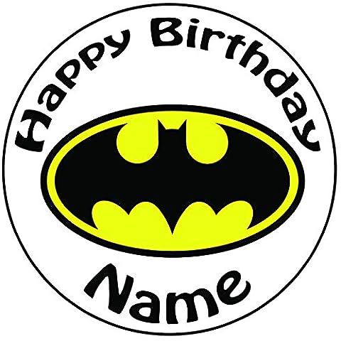 Personalisierte Batman Logo Cake Topper, einen vorgeschnittenen Rund 20,3cm (20cm)