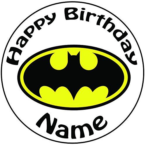Personalisierter Batman Logo Zuckerguss Kuchen Topper / Kuchendekoration - 20 cm Großer Kreis - Jeder Name Und Jedes Alter (Kuchen Topper Batman)