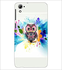 PrintDhaba Owl D-4540 Back Case Cover for HTC DESIRE 826 (Multi-Coloured)