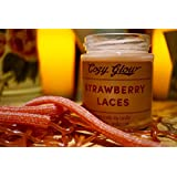 Cozy Glow Erdbeer-Schnürsenkel Soja Kerze Jar - 35 + Stunden Burning Time