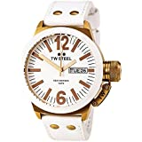 TW Steel Unisex Quartz Watch with White Dial Analogue Display and White Leather Strap CE1035