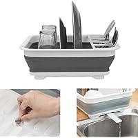 Égouttoir à vaisselle pliable avec égouttoir pour évier, nettoyage facile, organiseur de vaisselle, plateau de rangement…