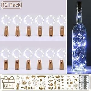 (12 Stück) Flaschenlicht Batterie, kolpop 2m 20 LED Glas Korken Licht Kupferdraht Lichterkette für flasche für Party, Garten, Weihnachten, Halloween, Hochzeit, außen/innen Beleuchtung Deko (Kaltweiß)