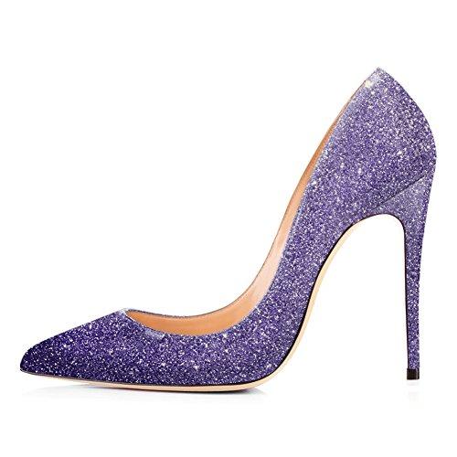 Onlymaker High Heels, Women's Glitter Slip-On Pumps Pointy Toe Party Dress Wedding Shoes Purple EU 36 Glitter Stiletto
