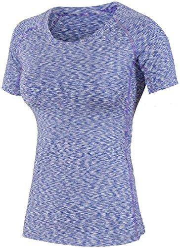 Jeansian Femme Casual T-shirts et Tops de Sport aptitude T-Shirt Women Fashion Fitness Sport Elastic Quick-Drying T-Shirt Tops SMF004 purple