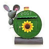 Briefkasten Maus mit Käse Postkasten Metall bemalt,Wandbriefkasten Tiermotiv mit Zeitungsrolle A4 Einwurfformat - Gall&Zick