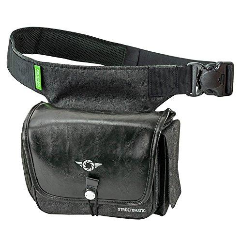 COSYSPEED Kameratasche mit Hüftgürtel Camslinger Streetomatic+ Fototasche für System- und DSLR-Kameras + Zoomobjektiv schwarz-grau (vegan)