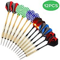 Awroutdoor Steel Darts Set - 12 Packs Darts (6 pcs 25 Grams+ 6pcs 18 Gram) with 8 Style Flights, Aluminum Shafts, Brass Barrels and Dart Sharpener