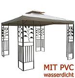 habeig WASSERDICHTER Pavillon TOSKANA 3x3m Metall inkl. Dach Festzelt wasserfest Partyzelt (Taupe)