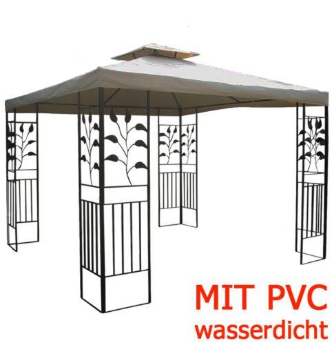 WASSERDICHTER Pavillon TOSKANA 3x3m Metall inkl. Dach Festzelt wasserfest Partyzelt (Taupe)