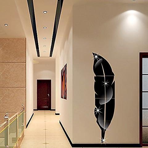 ufengke® 3D Pluma Efecto de Espejo Pegatinas de Pared Diseño de Moda Etiquetas del Arte Decoración del Hogar Negro