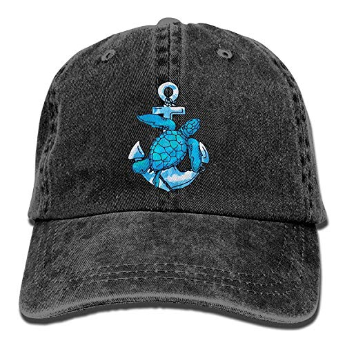 Funny&shirt Protect Sea Turtle Anchor Unisex Washed Twill Cotton Baseball Cap Vintage Adjustable Dad Hat Anchors Away Dress