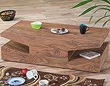 Couch-Tisch aus massivem Sheeshamholz 115x60cm quadratisch | Sahi | Designer Wohnzimmer-Tisch mit schrägen eckigen Ablagen Sheesham Massivholz 115cm x 60 cm