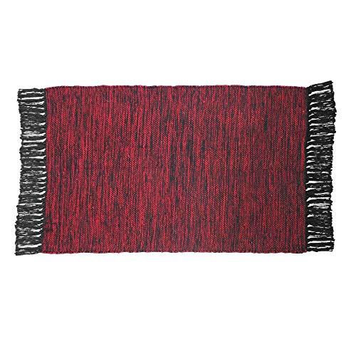 CDaffaires Tapis Rectangle 50 x 80 cm Coton Jacquard pitcho Rouge