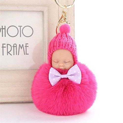 artistic9(TM) 8cm Niedliche Baby Puppe in Hat Anhänger Frauen weiche Zeitgemäß Ball Key Ring Halter Schlüssel Ketten, hot pink, 8 cm