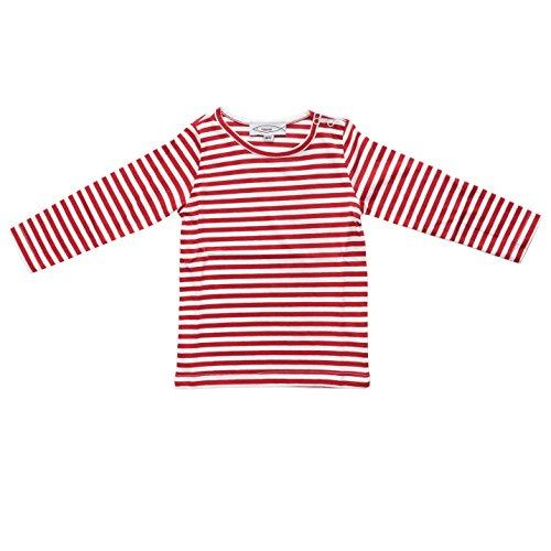 Fishermen Kinder Langarm-T-Shirt Michel Rot/Weiß Schmal Gestreift Größe 110/116