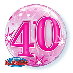 Qualatex 43125 40 Starburst Sparkle - Globo de látex con Burbujas de una Sola Pieza, Color Rosa, 55,88 cm
