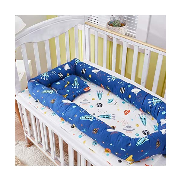 TEALP Multifunctional Baby Nest Navy Blue Galaxy Outer Space, Baby Bassinet for Bed/Lounger/Nest/Pod/Cot Bed/Sleeping, Breathable & Hypoallergenic Cotton (0-24 Months) TEALP 【Breathable and Hypoallergenic Cotton】hypoallergenic materials, breathable and non-toxic. We use 100-percent cotton fabric and breathable, hypoallergenic internal filler, which is safe for baby's sensitive skin. It will give your child serene, safe, and sound sleep in their lovely co sleeping crib. 【Adjustable Design】1 baby nest, 90x55x15cm;1 pillow30x30cm, Suitable for 0-24 Month. GROWS WITH YOUR BABY. Being adjustable, the side sleeper grows with your baby. Simply loosen the cord at the end of the bumpers to make the size larger. The ends of the bumpers can be fully opened. 【Multifunctional and Portable】 Use the infant nest as a bassinet for a bed, baby lounger pillow, travel bed, newborn pillow, changing station or move it around the house for lounging or tummy time, making baby feel more secure and cozy. 3