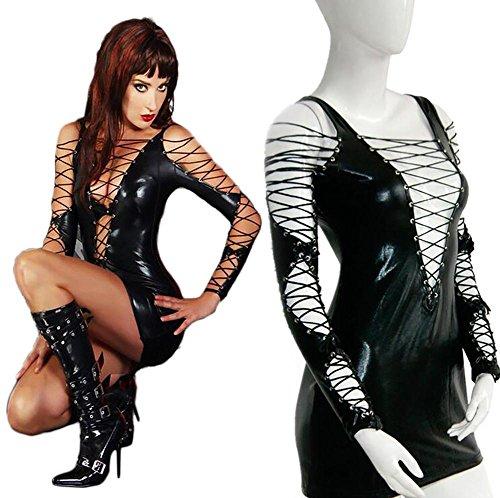 HHTY QREP Frauen Sexy PU Kunstleder High Cut Bodysuit Hohl Fehlschlag Erotic Gymnastikanzug Latex Overalls PVC Catsuit