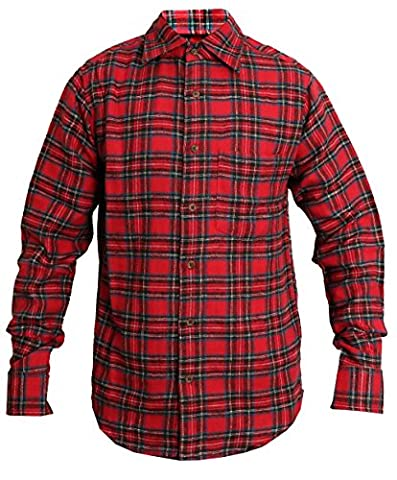 ROCKBERRY Men's Classics Check Shirts Long Sleeve Plaid Brushed Cotton