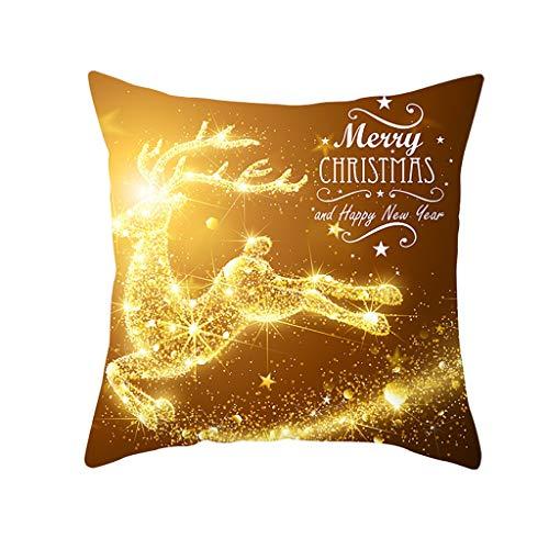 Xuthuly Weihnachten Kissenbezug Glitter Polyester Sofa Dekokissen Cover Home Decor -