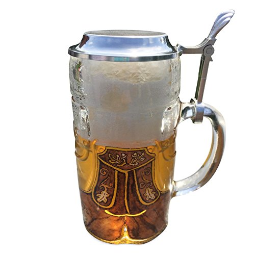 Glass beer mug on the skin Look pants with tin 0,5 cover l