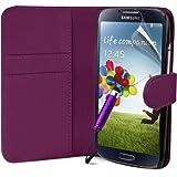 Supergets® Hülle für das Samsung Galaxy S4 I9500 Buchstil Klapptasche in Lederoptik Etui Flip Case, Folie, Reinigungstuch, Mini Eingabestift