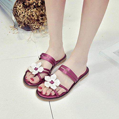 Frauen Böhmen Blumen webart Sandelholze, Kaiki Summer Beach Peep-Toe Flip Flops Schuhe Hot Pink
