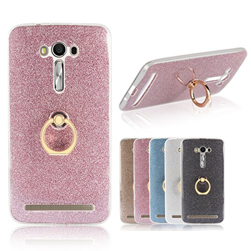 Meimeiwu 2 in 1 Ultra Slim TPU Bumper Back Cover Case Custodia With 360 Degree Rotating Ring per Asus ZenFone 2 Laser ZE550KL 5.5 - Blu Pink